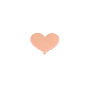 "Metal Stamping Blanks Copper Classic Heart, 10mm (.40"") x 8mm (.32""), 24g, Pk of 5"