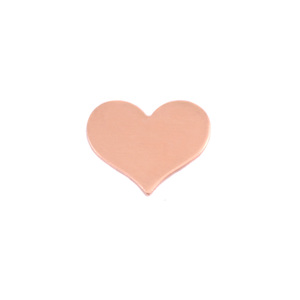 "Metal Stamping Blanks Copper Classic Heart, 13mm (.51"") x 11mm (.43""), 24g, Pk of 5"