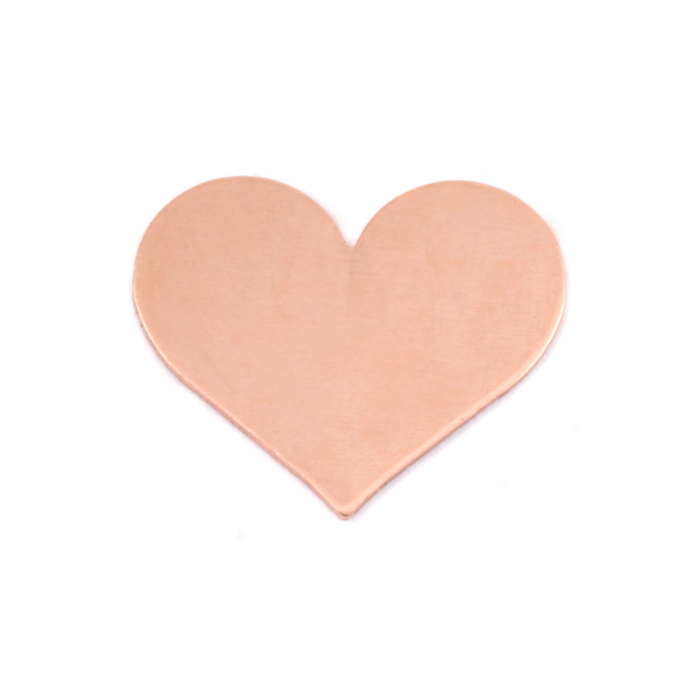 "Metal Stamping Blanks Copper Classic Heart, 20mm (.79"") x 17mm (.67""), 24g, Pk of 5"