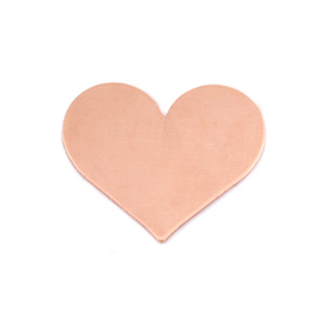 "Metal Stamping Blanks Copper Classic Heart, 20mm (.79"") x 17mm (.67""), 24g, Pack of 5"