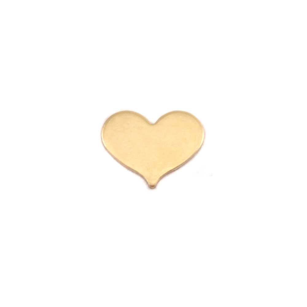 "Metal Stamping Blanks  Brass Classic Heart, 10mm (.40"") x 8mm (.32""), 24g, Pk of 5"