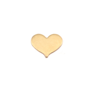 "Metal Stamping Blanks  Brass Classic Heart, 10mm (.40"") x 8mm (.32""), 24 Gauge, Pack of 5"