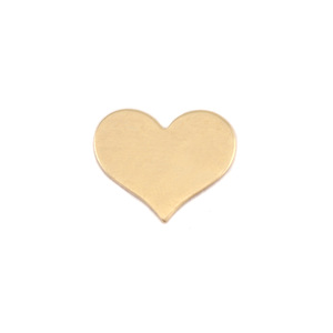 "Metal Stamping Blanks Brass Classic Heart, 13mm (.51"") x 11mm (.43""), 24g, Pk of 5"