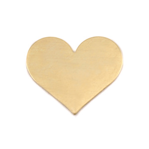 "Metal Stamping Blanks Brass Classic Heart, 20mm (.79"") x 17mm (.67""), 24g, Pk of 5"
