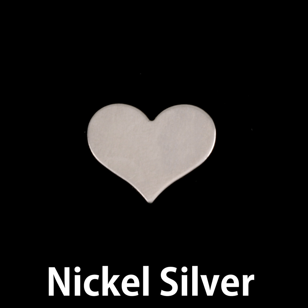"Metal Stamping Blanks  Nickel Silver Classic Heart, 13mm (.51"") x 11mm (.43""), 24g, Pack of 5"