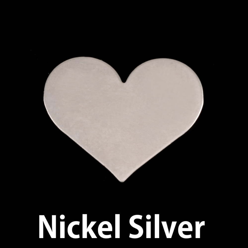 "Metal Stamping Blanks Nickel Silver Classic Heart, 20mm (.79"") x 17mm (.67""), 24g, Pack of 5"