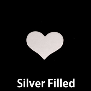 "Metal Stamping Blanks Silver Filled Classic Heart, 13mm (.51"") x 11mm (.43""), 24g"