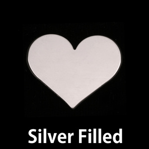 "Metal Stamping Blanks Silver Filled Classic Heart, 20mm (.79"") x 17mm (.67""), 24g"