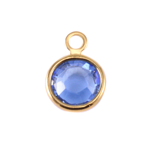 Charms & Solderable Accents Swarovski Crystal Channel Gold Charm (Sapphire - SEPTEMBER)