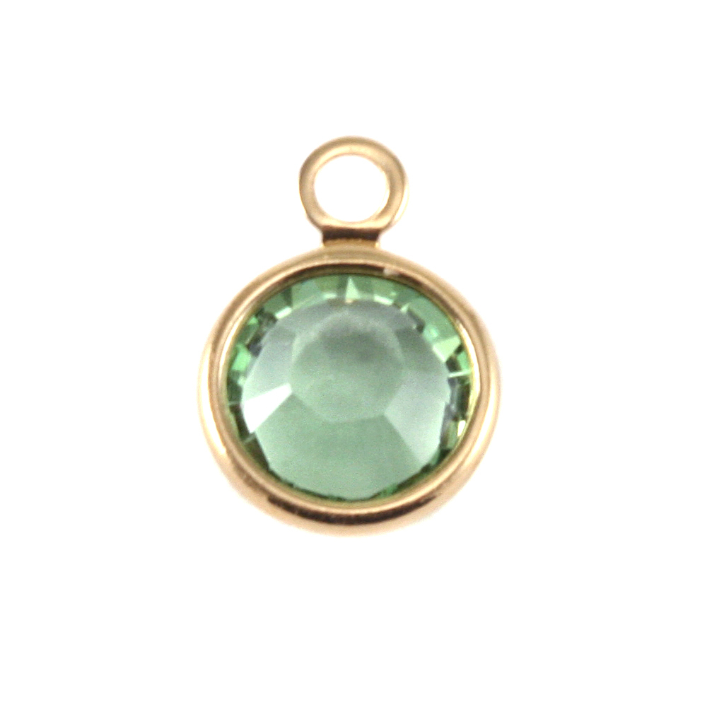 Charms & Solderable Accents Swarovski Crystal Channel Gold Charm (Peridot - AUGUST)