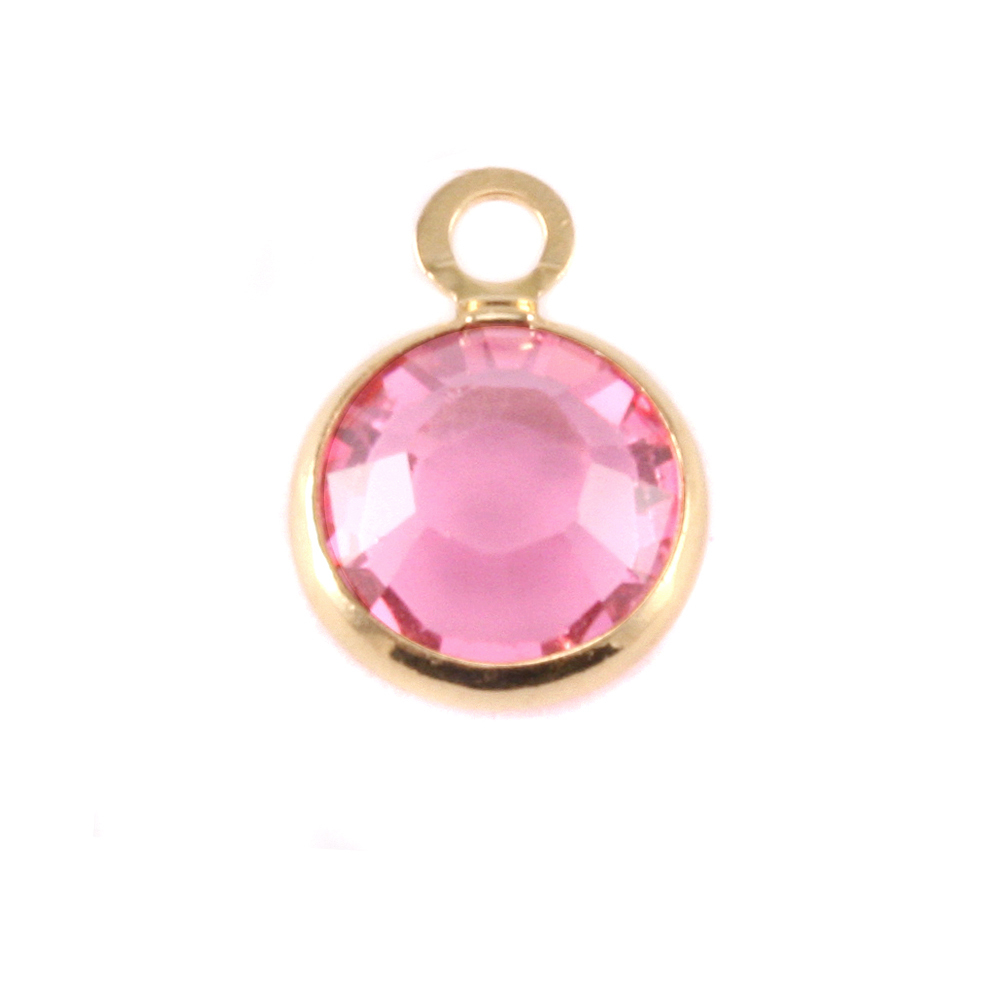 Charms & Solderable Accents Swarovski Crystal Channel Gold Charm (Pink Tourmaline - OCTOBER)