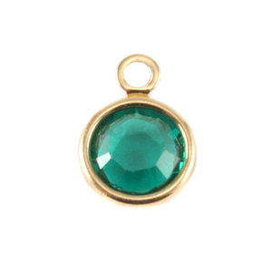 Charms & Solderable Accents Swarovski Crystal Channel Gold Charm (Emerald - MAY)