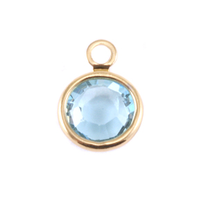Charms & Solderable Accents Swarovski Crystal Channel Gold Charm (Aquamarine - MARCH)