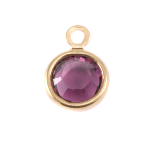 Charms & Solderable Accents Swarovski Crystal Channel Gold Charm (Amethyst - FEBRUARY)