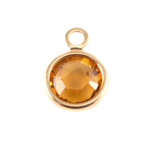 Charms & Solderable Accents Swarovski Crystal Channel Gold Charm (Topaz - NOVEMBER)