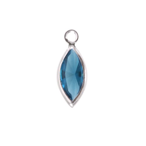 Charms & Solderable Accents Swarovski Crystal Navette Silver Charm (Blue Zircon - DECEMBER)