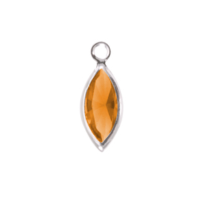 Charms & Solderable Accents Swarovski Crystal Navette Silver Charm (Topaz - NOVEMBER)