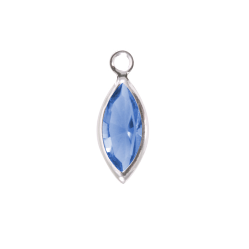 Charms & Solderable Accents Swarovski Crystal Navette Silver Charm (Sapphire - SEPTEMBER)