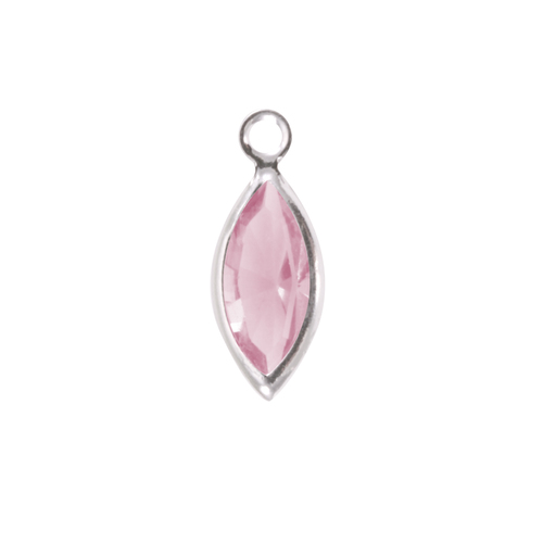 Charms & Solderable Accents Swarovski Crystal Navette Silver Charm  (Alexandrite - JUNE)