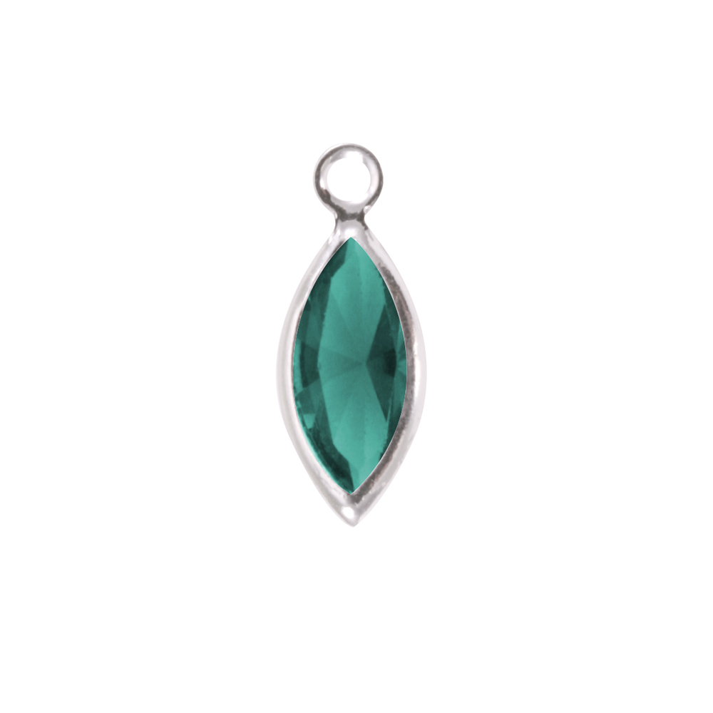 Charms & Solderable Accents Swarovski Crystal Navette Silver Charm  (Emerald - MAY)