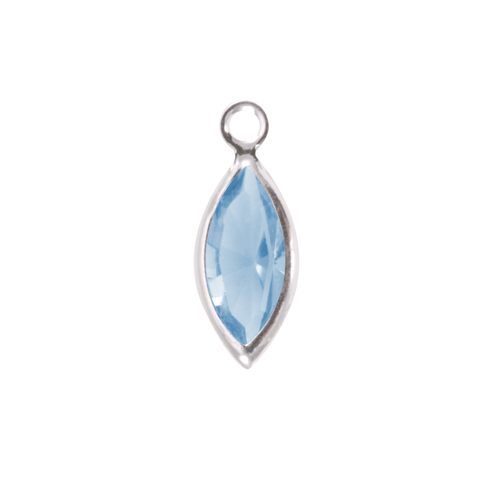 Charms & Solderable Accents Swarovski Crystal Navette Silver Charm (Aquamarine - MARCH)