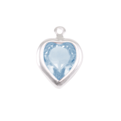 Crystals & Beads Swarovski Crystal Heart Silver Charm (Aquamarine - MARCH)