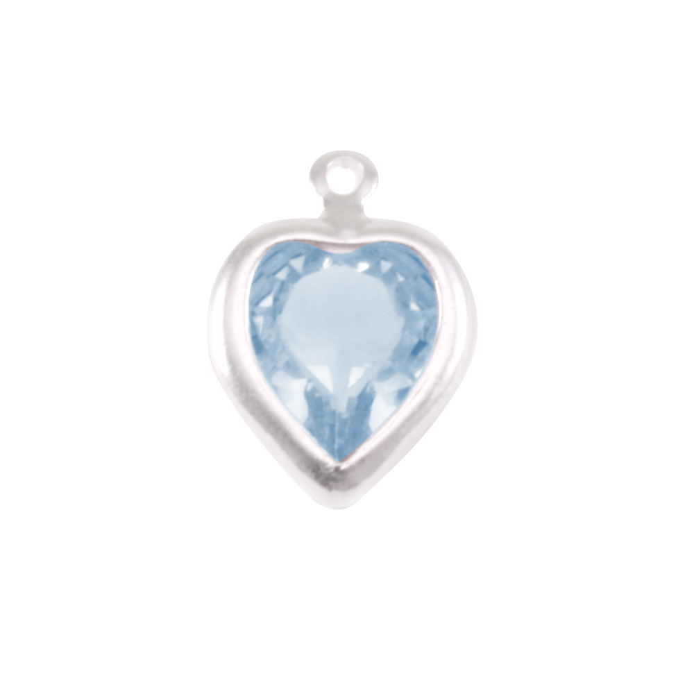 Charms & Solderable Accents Swarovski Crystal Heart Silver Charm (Aquamarine - MARCH)
