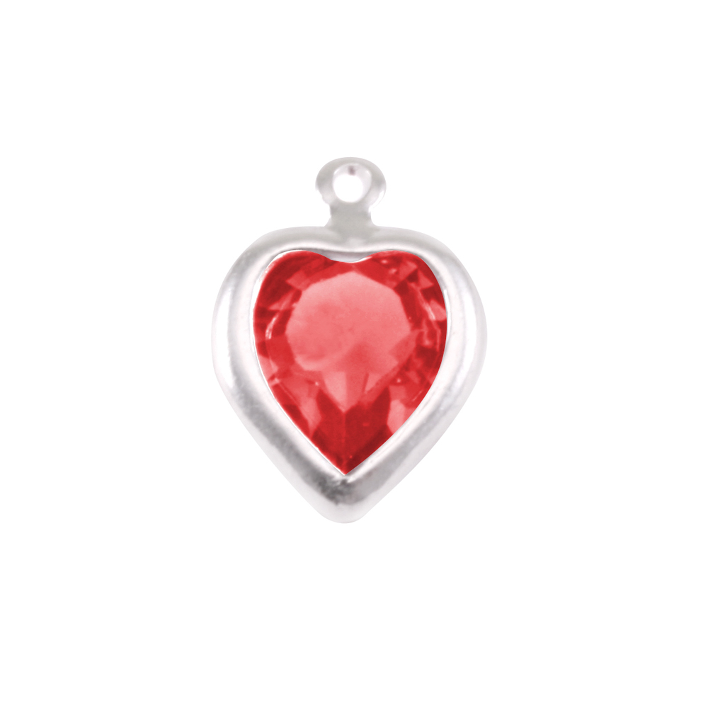 Charms & Solderable Accents Swarovski Crystal Heart Silver Charm Ruby (JULY)