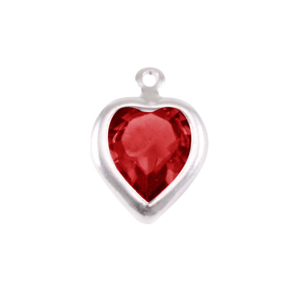 Charms & Solderable Accents Swarovski Crystal Heart Silver Charm (Garnet - JANUARY)