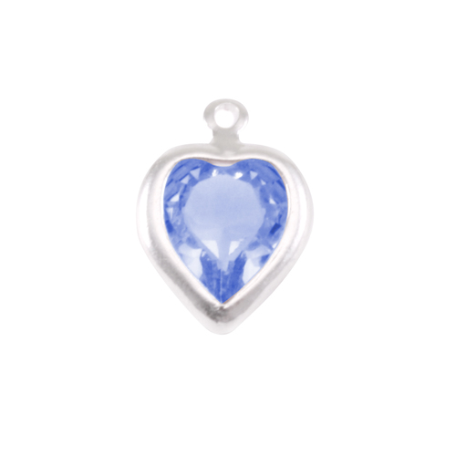 Charms & Solderable Accents Swarovski Crystal Heart Silver Charm Sapphire (SEPTEMBER)