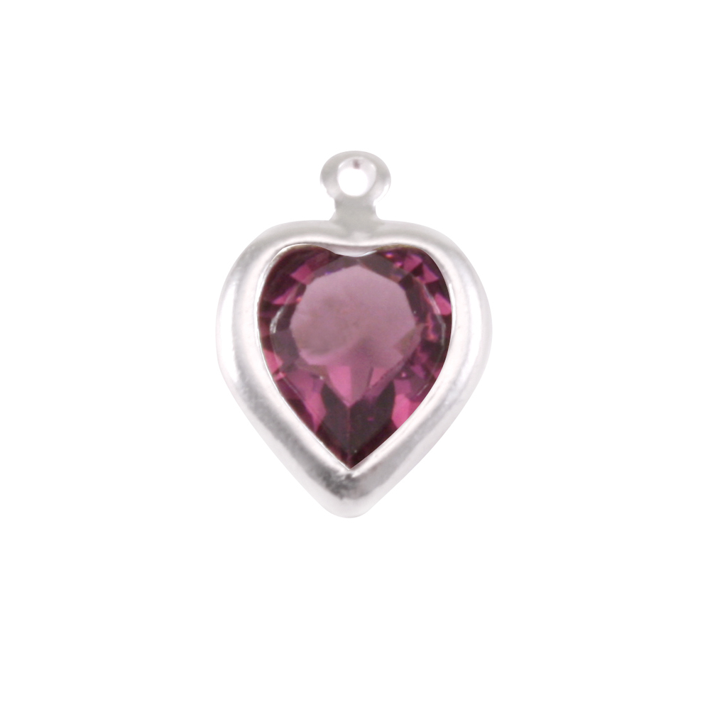 Charms & Solderable Accents Swarovski Crystal Heart Silver Charm (Amethyst - FEBRUARY)