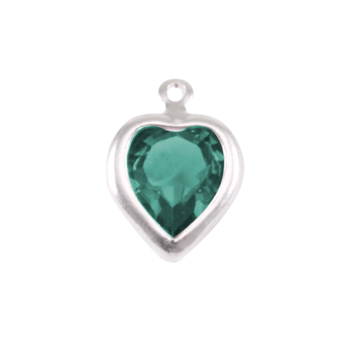 Charms & Solderable Accents Swarovski Crystal Heart Silver Charm Emerald (MAY)
