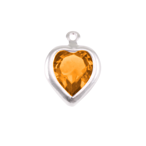 Charms & Solderable Accents Swarovski Crystal Heart Silver Charm Topaz (NOVEMBER)