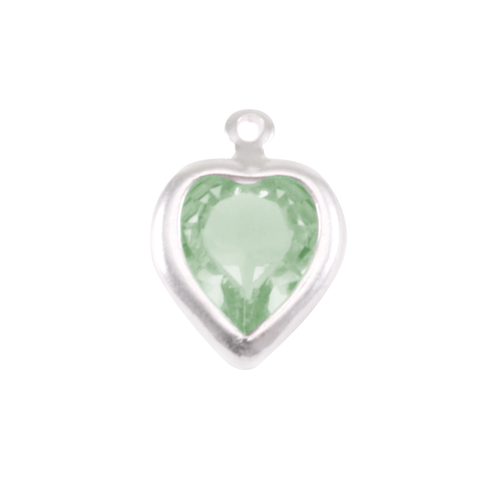 Charms & Solderable Accents Swarovski Crystal Heart Silver Charm Peridot (AUGUST)