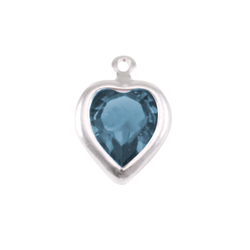 Charms & Solderable Accents Swarovski Crystal Heart Silver Charm Blue Zircon (DECEMBER)