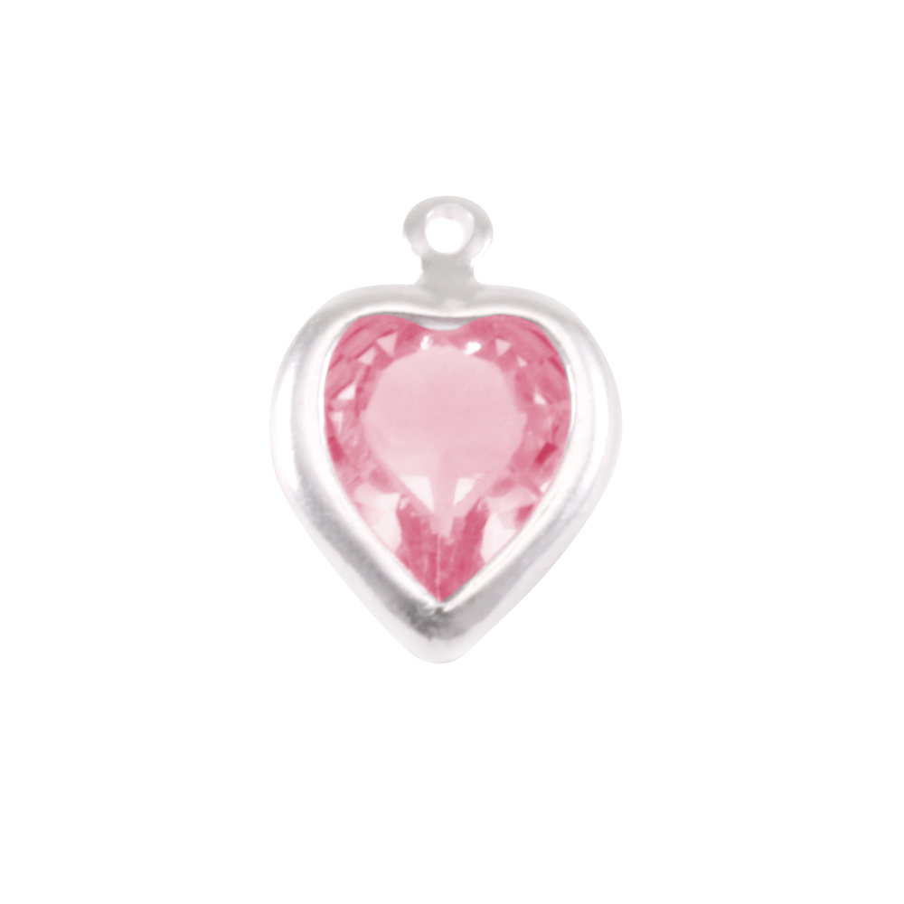 Charms & Solderable Accents Swarovski Crystal Heart Silver Charm Pink Tourmaline (OCTOBER)
