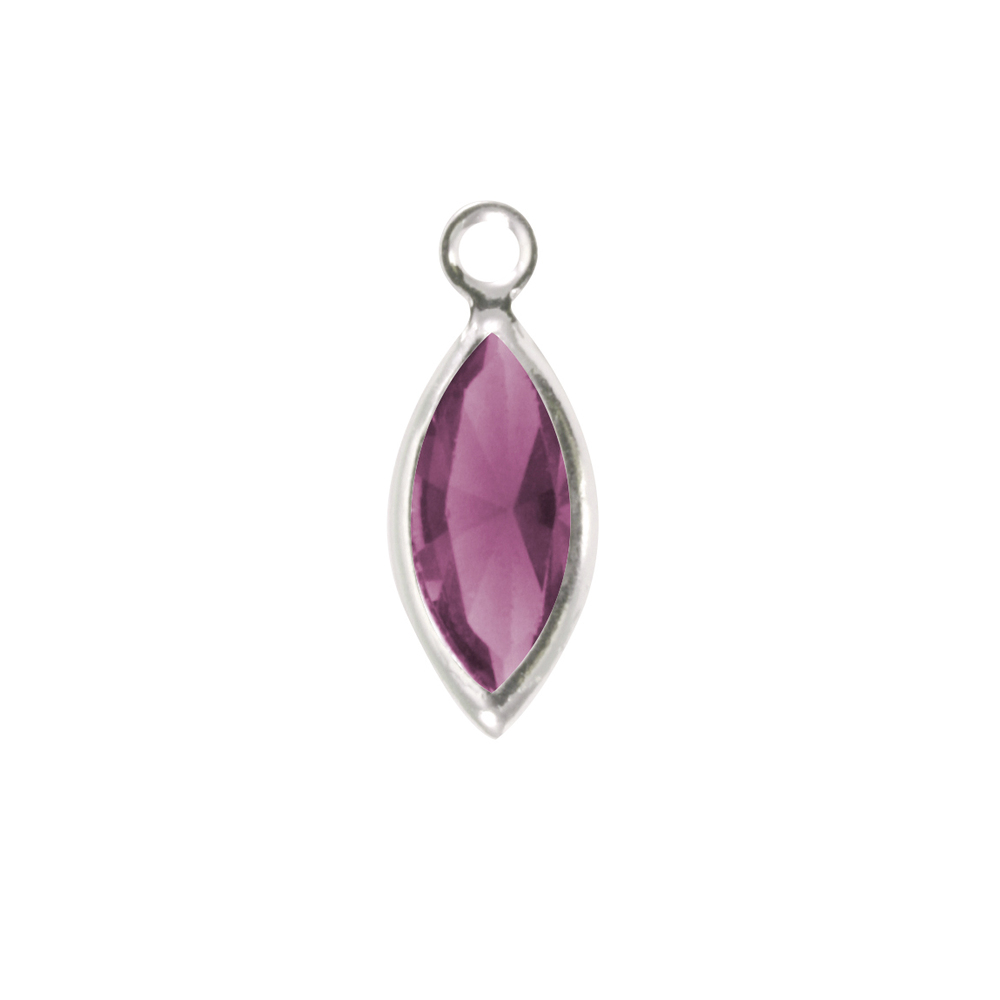 Charms & Solderable Accents Swarovski Crystal Navette Silver Charm (Amethyst - FEBRUARY)