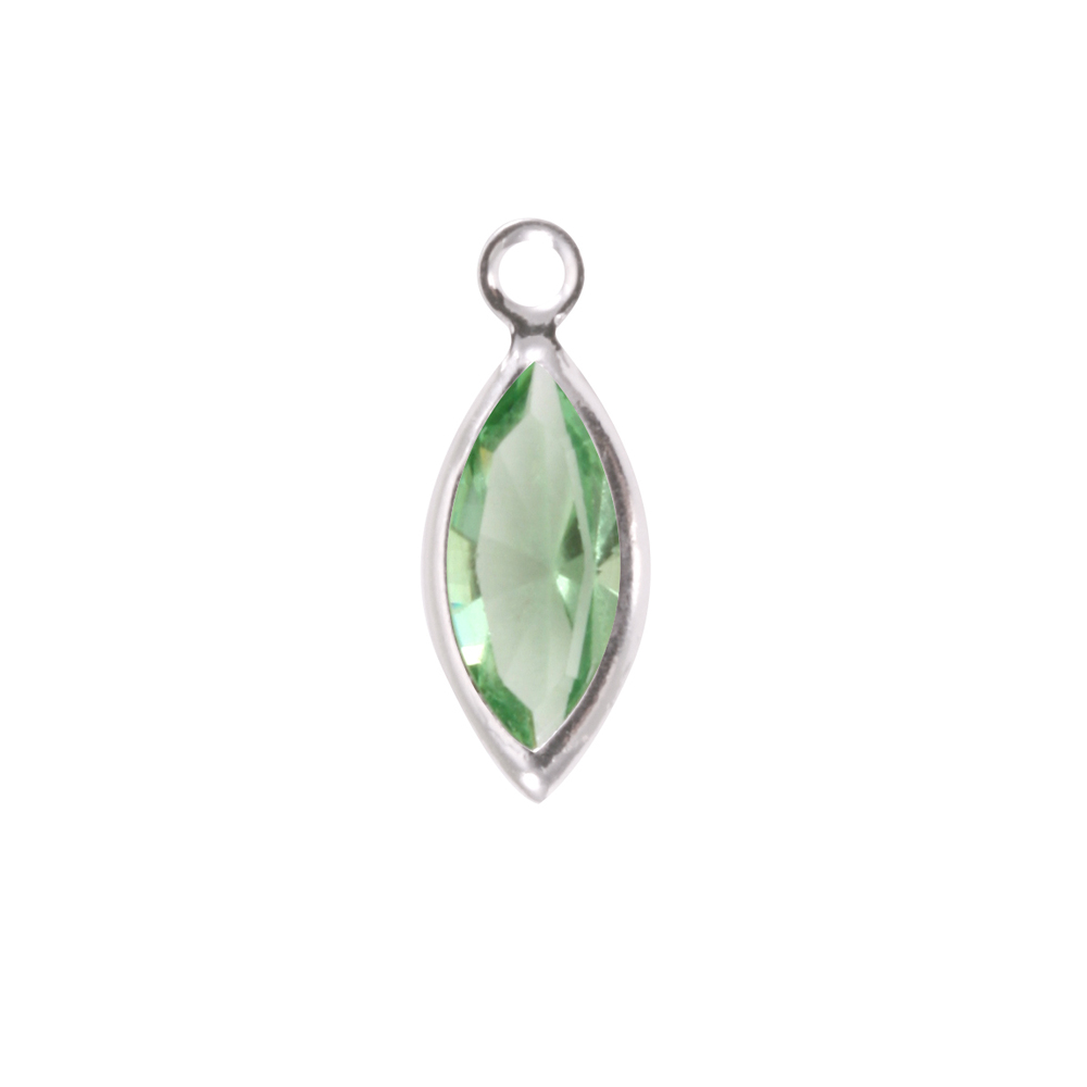 Charms & Solderable Accents Swarovski Crystal Navette Silver Charm (Peridot - AUGUST)