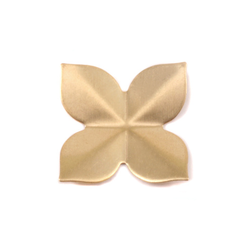 Metal Stamping Blanks Brass 4 Petal Folded Flower, 24g