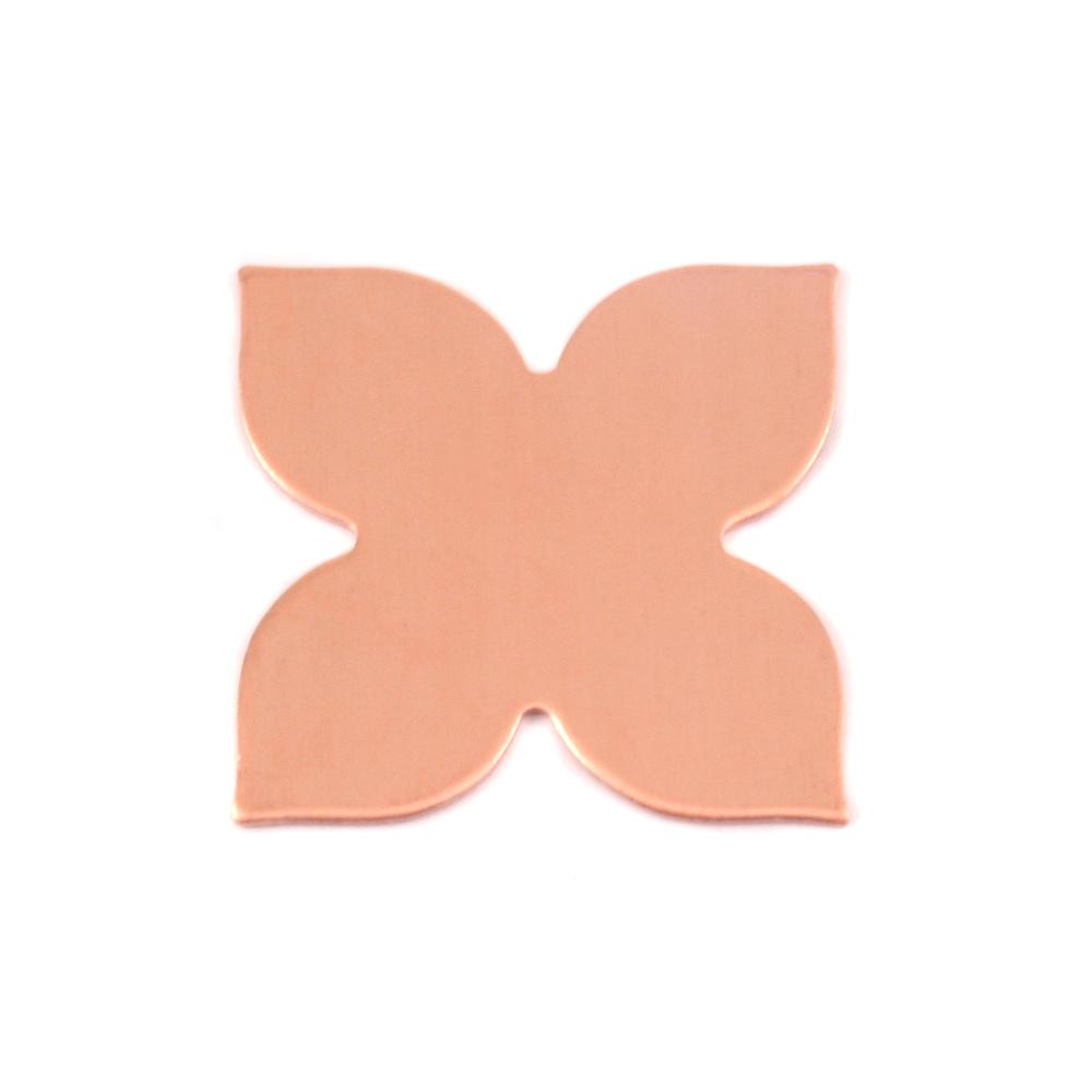 Metal Stamping Blanks Copper 4 Petal Flower, 24g