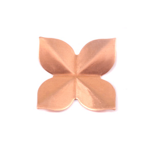 Metal Stamping Blanks Copper 4 Petal Folded Flower, 24g