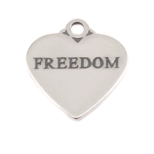 Charms & Solderable Accents Sterling Silver Heart Charm with Top Loop, FREEDOM