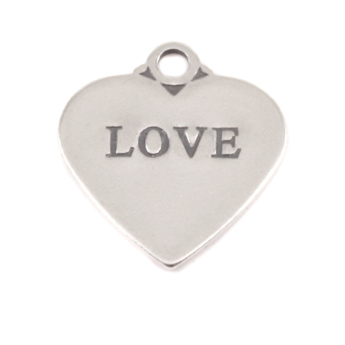 Charms & Solderable Accents Sterling Silver Heart Charm with Top Loop, LOVE