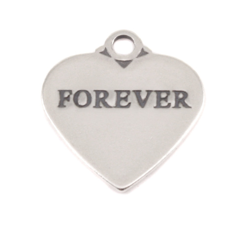 Charms & Solderable Accents Sterling Silver Heart Charm with Top Loop, FOREVER