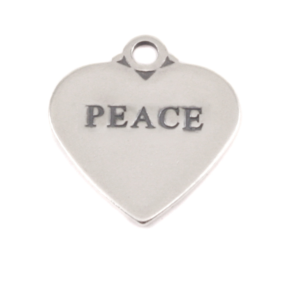 Charms & Solderable Accents Sterling Silver Heart Charm with Top Loop, PEACE