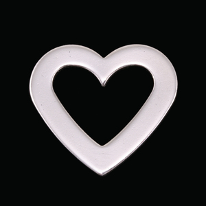 "Metal Stamping Blanks Sterling Silver Heart Washer, 22.35mm (.88"") x 20.25mm (.79""), 16g"