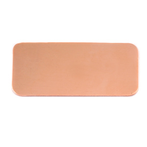 "Metal Stamping Blanks Copper Rectangle, 44.5mm (1.73"") x 20mm (.79""), 24g, Pk of 5"