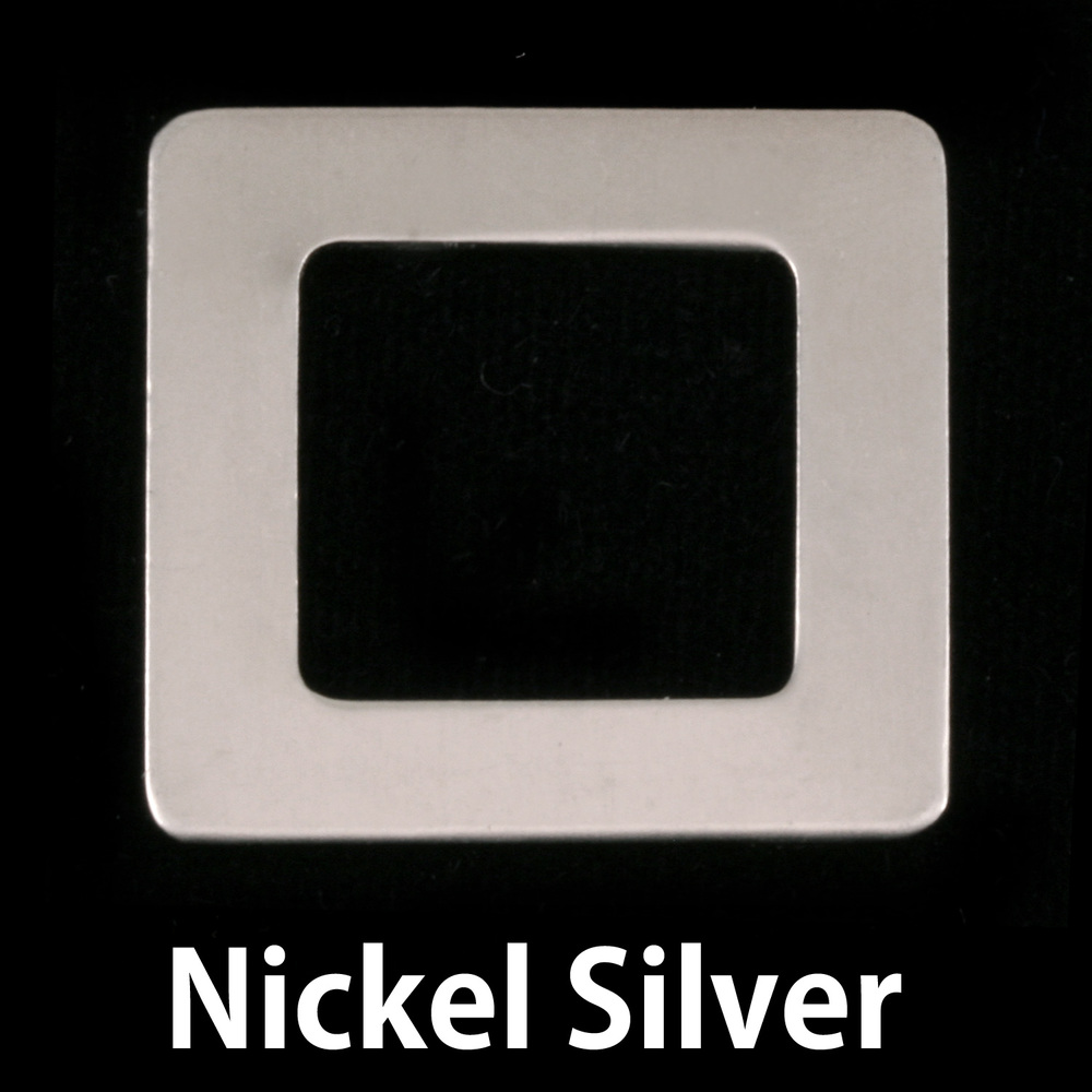 "Metal Stamping Blanks Nickel Silver Rounded Square Washer, 25mm (1"") with 15mm (.59"") ID, 22g"