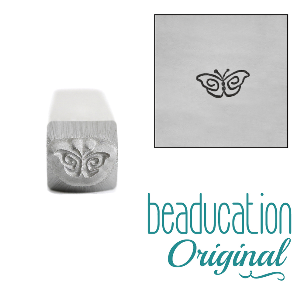 Metal Stamping Tools Whimsical Butterfly Metal Design Stamp, 5mm - Beaducation Original