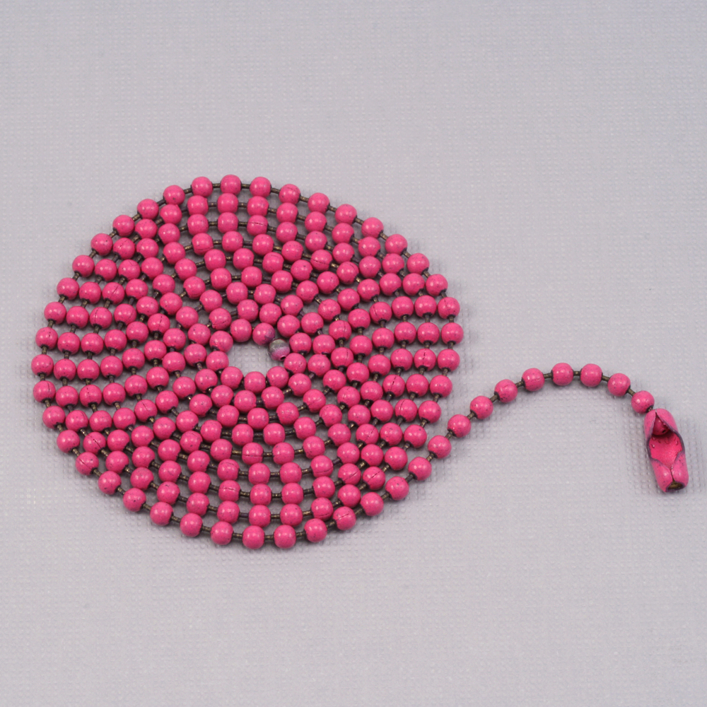 "Chain & Clasps Pink Ball Chain with connector, 30"" 2.4mm"